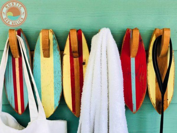 surfboard decor towel rack
