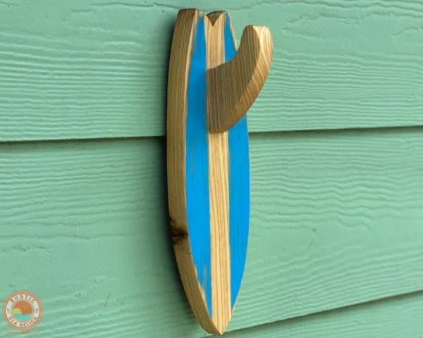 Wood Surfboard Towel Holder Reclaimed Cypress Blue