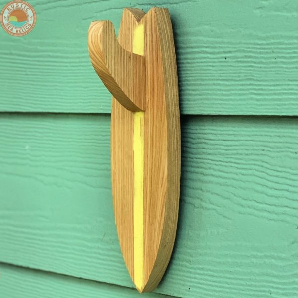 Wood Surfboard Towel Holder Reclaimed Cypress Yellow