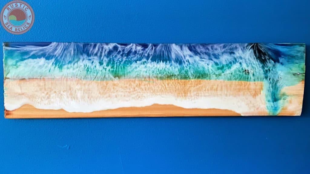 Ocean wall art with resin ocean waves