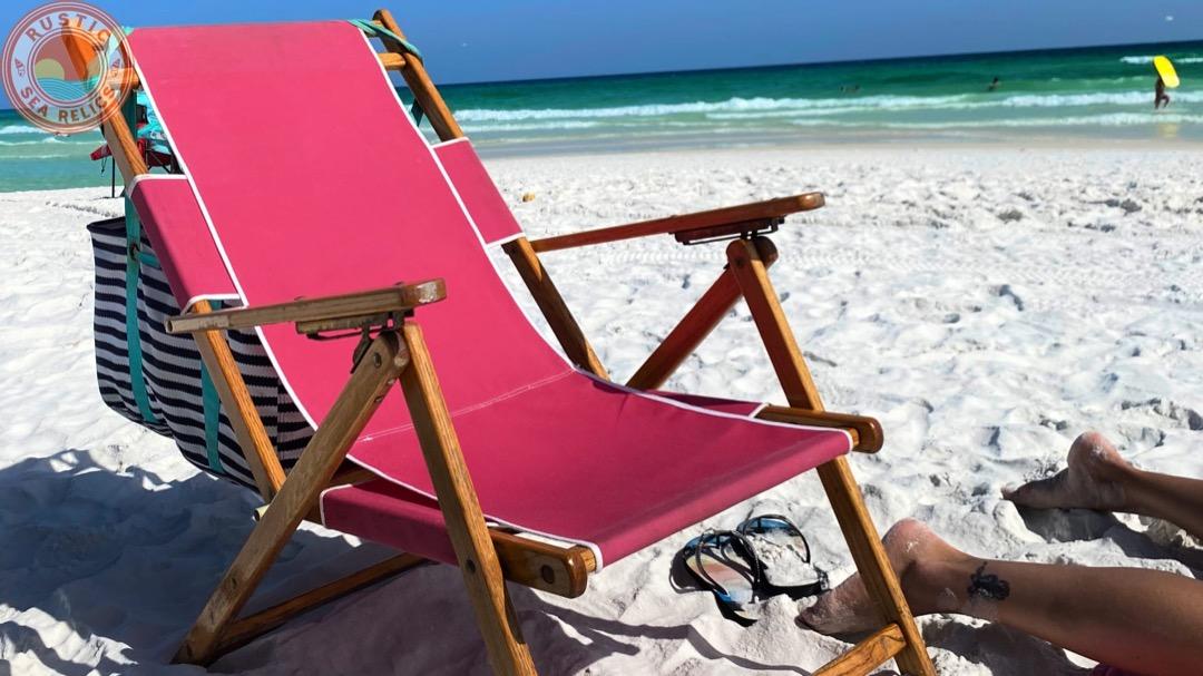 beach essentials wood beach chair