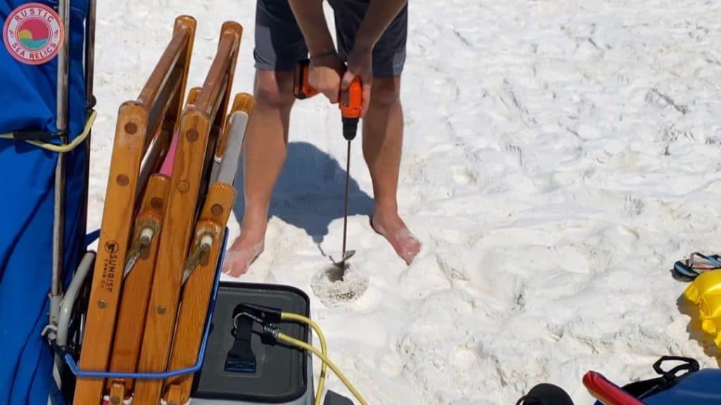 sand auger for beach umbrella