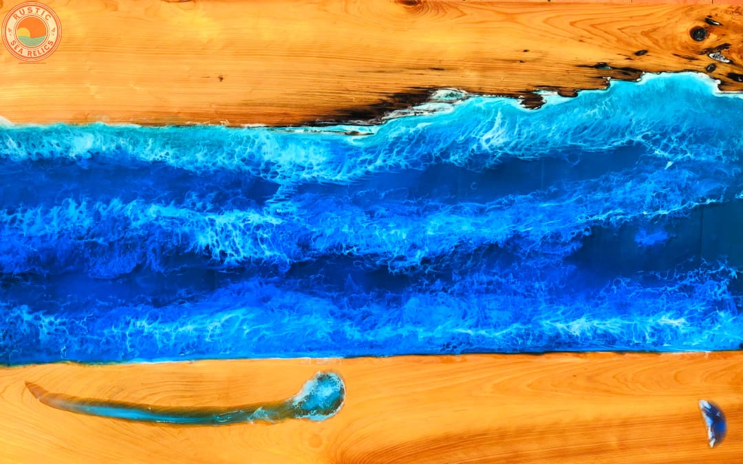 ocean resin wood art