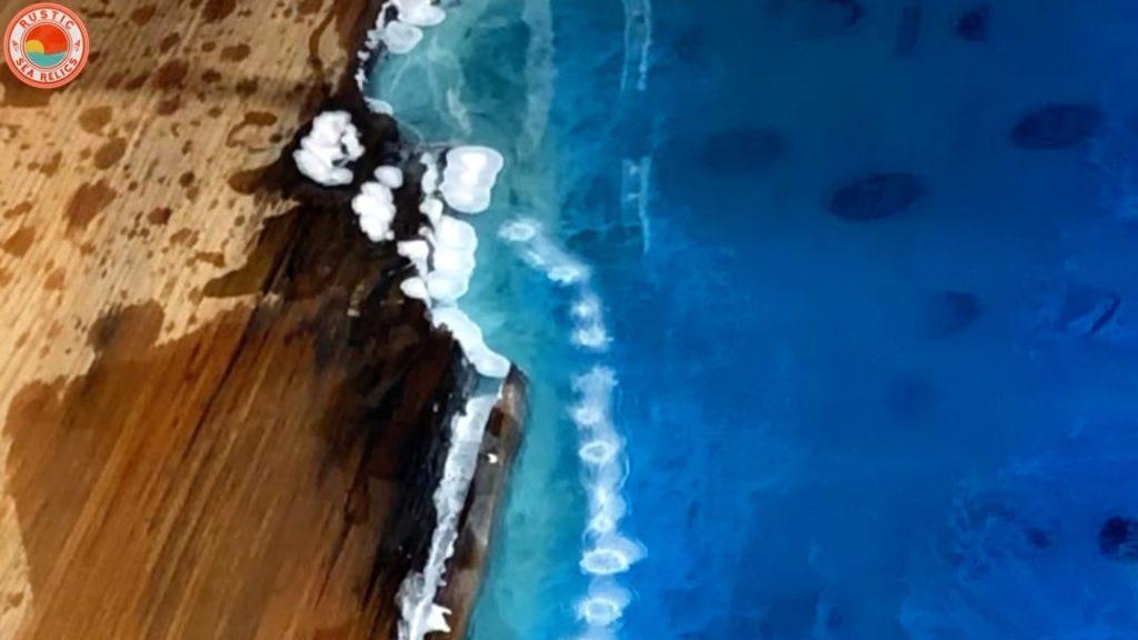 resin beach art waves